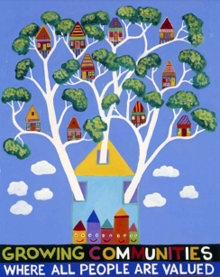 A painting of the Community Living Association logo that has a tree with many houses in the branches. Text within image reads Growing Communities where all people are valued