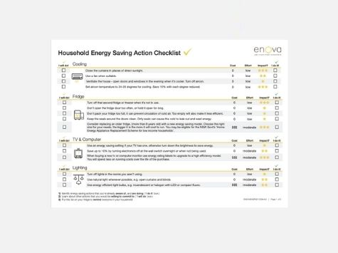 Household Energy Saving Action Checklist cover